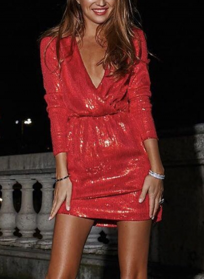 Sexy Sequin V Neck Long Sleeve Mini Bodycon Dress