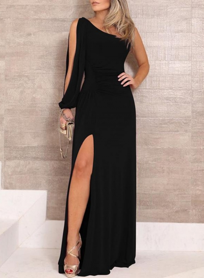 Summer One Shoulder Split Sleeve High Slit Ruffled Waist Cocktail Dress