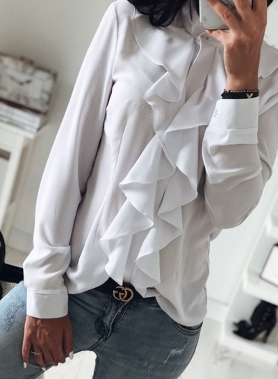 White Elegant Long Sleeve Stand Neck Slim Ruffle Button Down Shirt