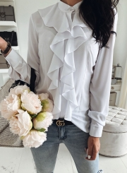 a5a725c8a29b0 ... White Elegant Long Sleeve Stand Neck Slim Ruffle Button Down Shirt ...