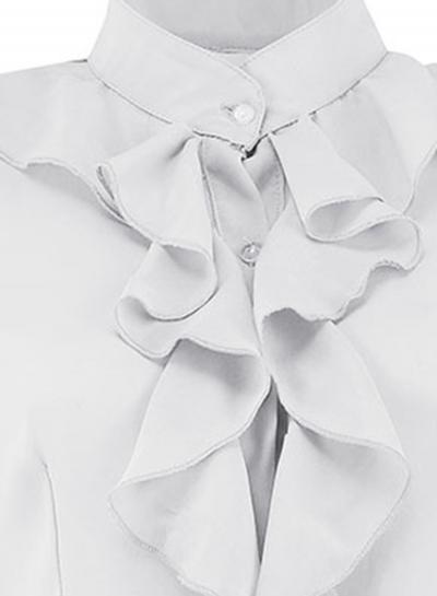 540a971013124 White Elegant Long Sleeve Stand Neck Slim Ruffle Button Down Shirt -  STYLESIMO.com