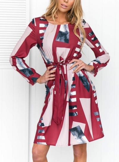 Geometric Pattern Round Neck Short Sleeve High Waist Dress With Belt