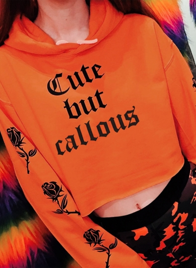 Orange Casual Floral Letters Print Long Sleeve Loose Short Hoodie