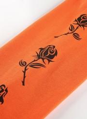 Orange Casual Floral Letters Print Long Sleeve Loose Short Hoodie