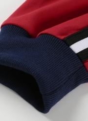 Red Casual Letters Print Long Sleeve Crop Top Loose Sweatshirt With Zip