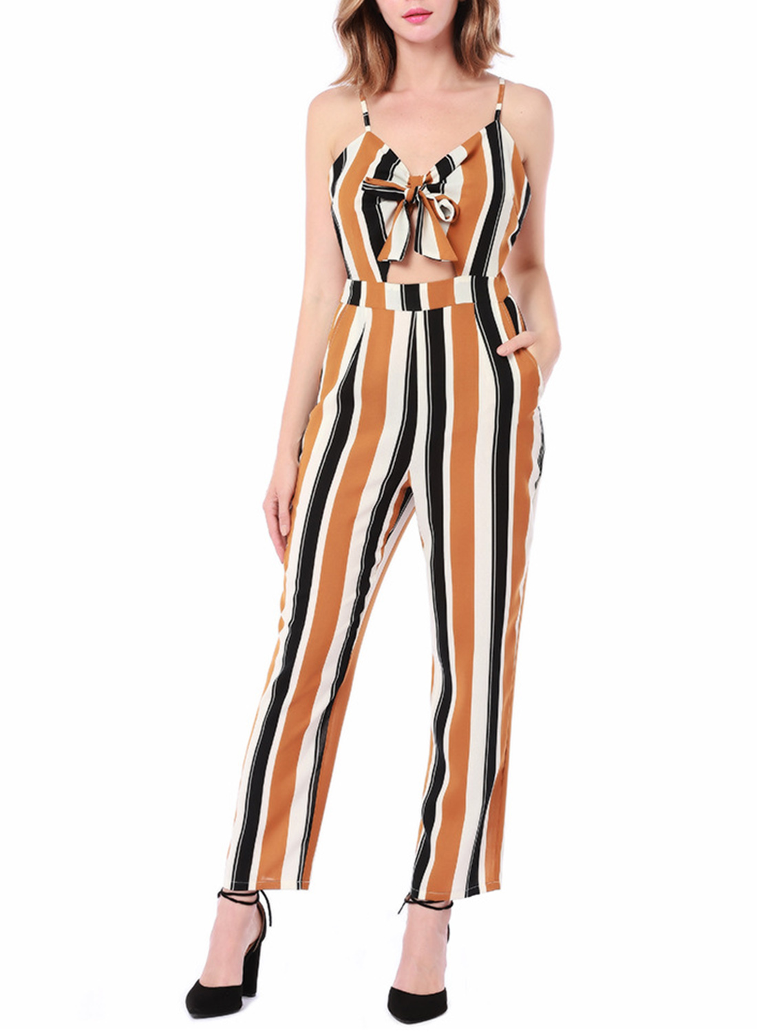 4529d797ad6 Yellow Fashion Slim Striped Floral Printed Spaghetti Strap Jumpsuit With  Bow STYLESIMO.com. Loading zoom
