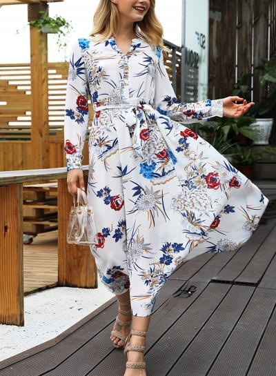 White Floral Print V Neck Long Sleeve A-line Vocation Maxi Dress With Belt