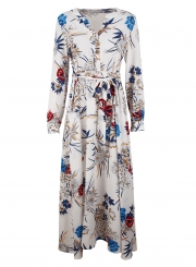 2490fc31297 ... White Floral Print V Neck Long Sleeve A-line Vocation Maxi Dress With  Belt ...