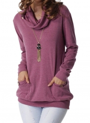 Purple Casual High Neck Long Sleeve Slim Pullover Sweatshirt With Pockets