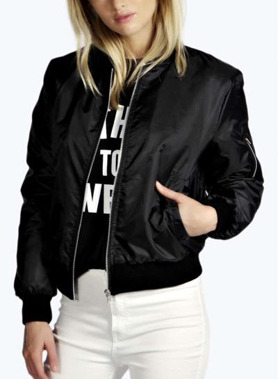 Stand Collar Long Sleeve Full Zip Short Jacket With Pockets