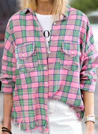 9d4acd7d Multi Casual Striped Turn-Down Collar Long Sleeve Loose Button Down ...