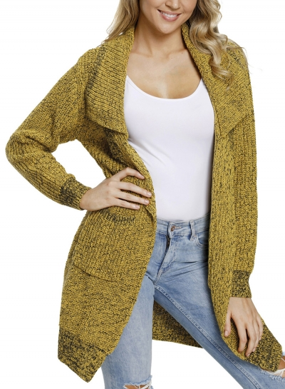 Casual Turn-Down Collar Long Sleeve Open Front Loose Cardigan