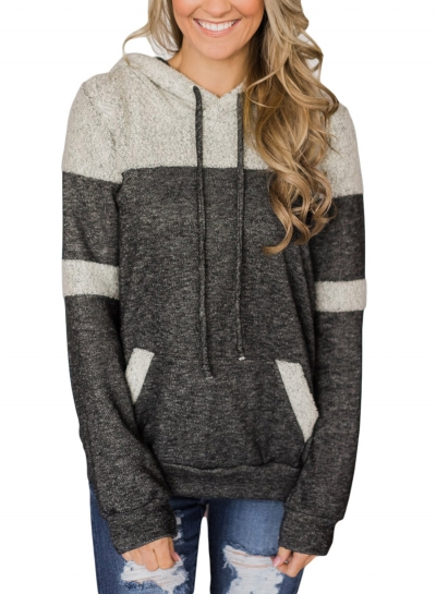 Casual Color Block Long Sleeve Loose Drawstring Hoodie With Pocket