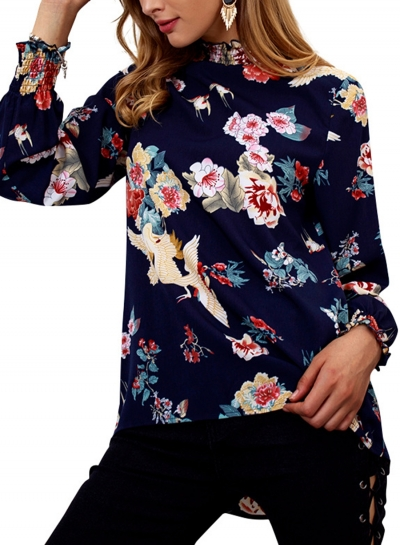 Navy Floral Print High Neck Long Sleeve Loose Pullover Blouse