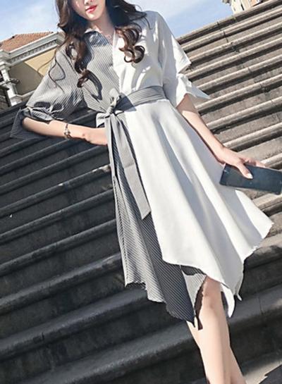 Black&white Casual Half Sleeve Irregular Color Block Midi Dress With Belt