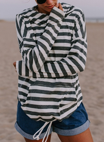 Casual Striped Long Sleeve Slim Pullover Hoodie With Pocket