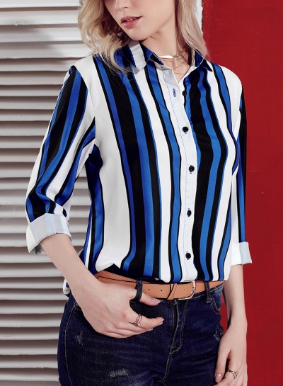 Blue Women's Striped Long Sleeve Turn-Down Collar Loose Button Down Shirt