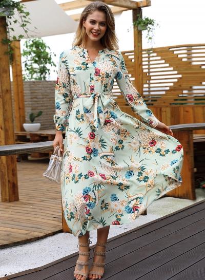 Green Floral Print V Neck Long Sleeve A-line Vocation Maxi Dress With Belt