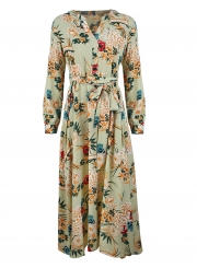 d4cc041890d ... Green Floral Print V Neck Long Sleeve A-line Vocation Maxi Dress With  Belt ...