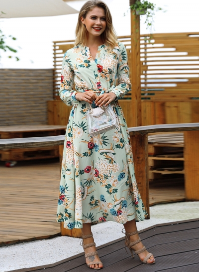 42740148c29 Green Floral Print V Neck Long Sleeve A-line Vocation Maxi Dress With Belt  - STYLESIMO.com