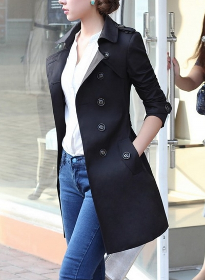 Black Casual Turn-Down Collar Long Sleeve Slim Fit Coat With Belt
