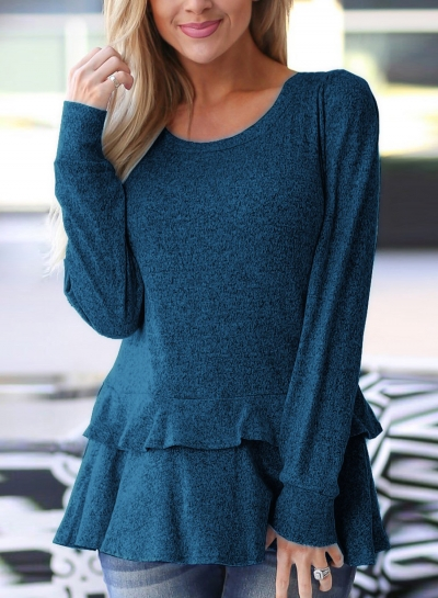 Blue Long Sleeve Round Neck Ruffle Hem Loose Solid Color Knitwear