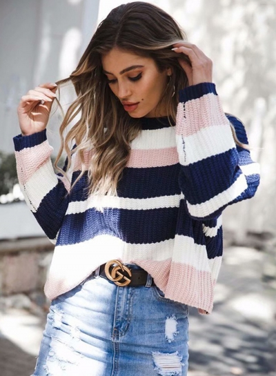 Pink Women's Casual Striped Long Sleeve Round Neck Loose Sweater