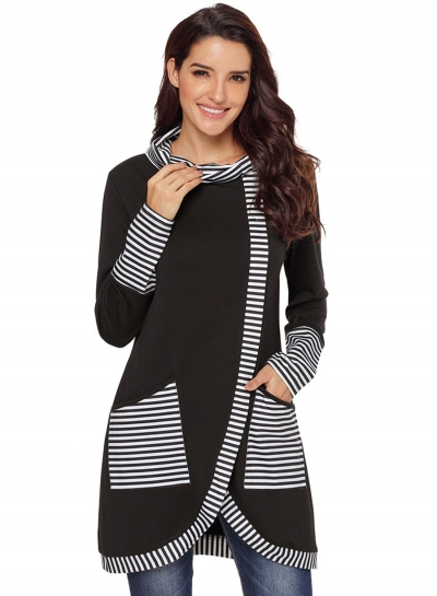 Black Casual Striped Cowl Neck Long Sleeve Irregular Sweatshirt With Pockets