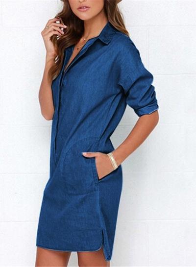 Turn-Down Collar Long Sleeve Loose Button Down Denim Dress
