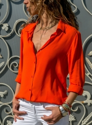 Long Sleeve Turn-Down Collar Solid Color Button Down Shirt