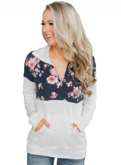 Floral Print Long Sleeve Zip Collar Loose Hoodie With Pocket