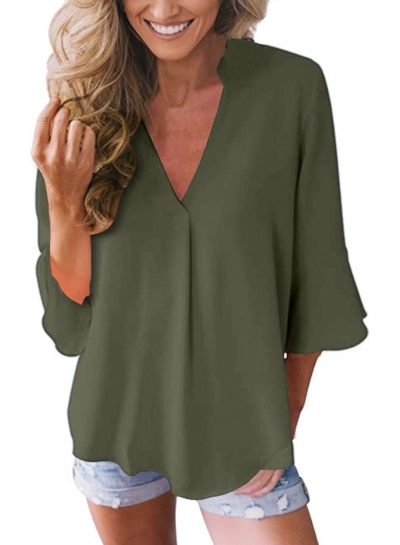 Casual Peplum Sleeve V Neck Loose Solid Color Blouse