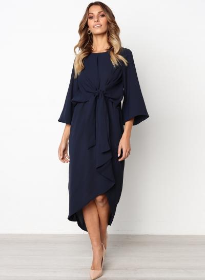 Long Sleeve Round Neck Waist Bow Irregular Solid Color Dress