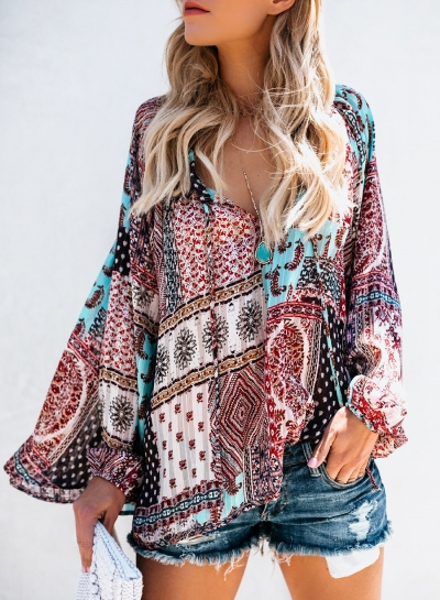 Multi Chiffon Boho Floral Print V Neck Long Sleeve Loose Blouse