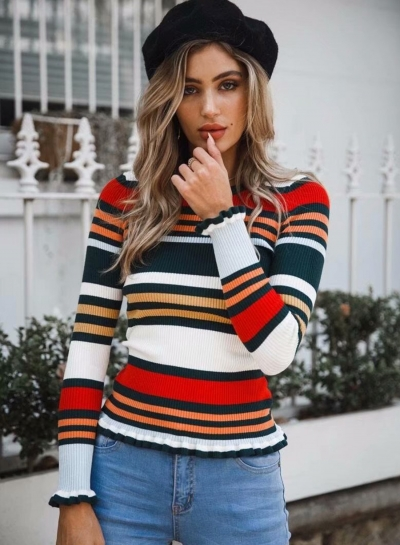 Multi Women's Striped Round Neck Long Sleeve Slim Color Block Pullover Sweater