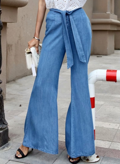 Blue Elastic Waist Bow Tie Wide Leg Bell-Bottom Jeans With Buttons