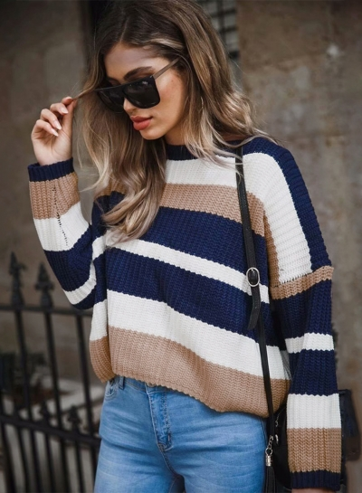 Yellow Casual Striped Long Sleeve Round Neck Loose Sweater