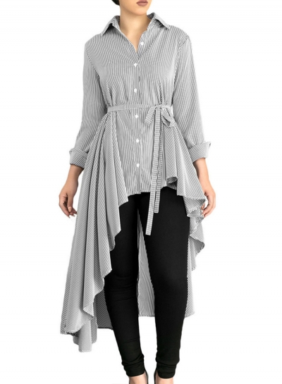 4d53d86e Grey Striped Long Sleeve High Low Loose Button Down Shirt With Belt  stylesimo.com