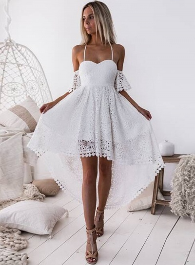Spaghetti Strap Off Shoulder High Waist Lace Hollow Out High Low Dress