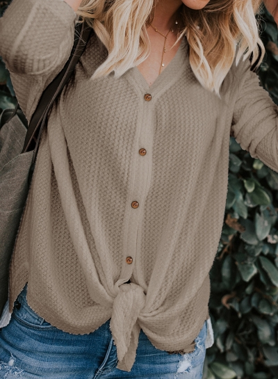 Casual Button Down Front Knot Knit Sweaters Shirt