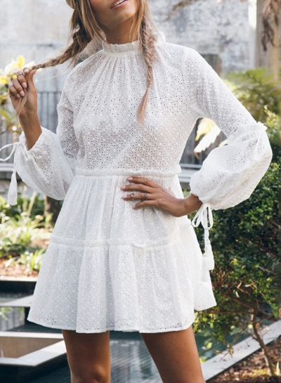 White Casual Round Neck Lantern Sleeve High Waist Hollow Out Mini Dress