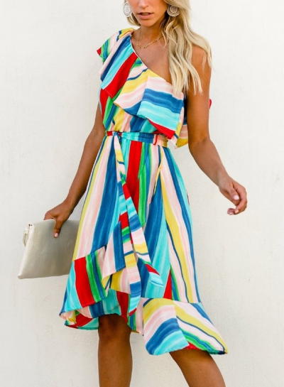 Stripes One Shoulder Ruffle Fishtail Irregular Swing Midi Dress
