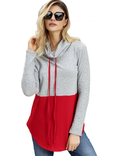 Red High Neck Long Sleeve Color Block Loose Pullover Sweatshirt
