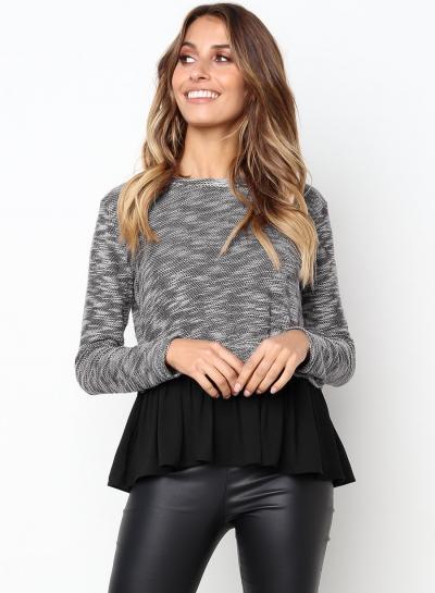 Deep Grey Long Sleeve Contrast Colorblock Ruffle Hem Pullover Sweater