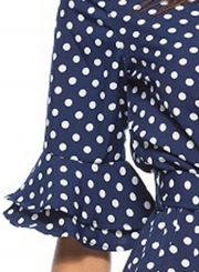Sexy V Neck Half Sleeve Wide Leg Polka Dot Jumpsuit With Pockets