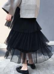 33322c60d ... Fluffy Princess Layered Mesh Ballet Prom Party Tulle Tutu A-Line Long  Skirt ...