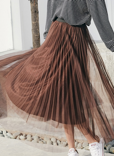 Mesh Tulle Pleated Skirt