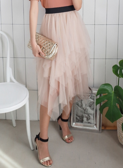 Irregular Layered Mesh Tulle  A-Line Skirt