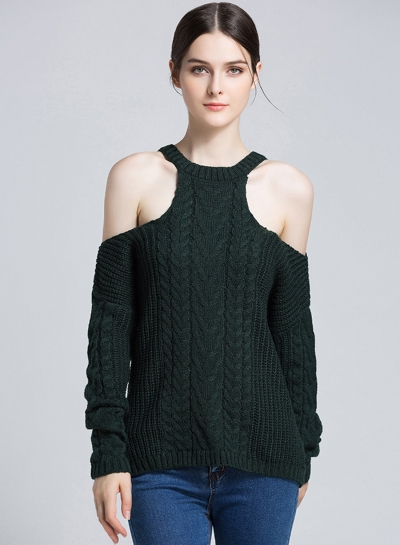 Deep Dreen Off Shoulder Round Neck Long Sleeve Loose Solid Color Sweater