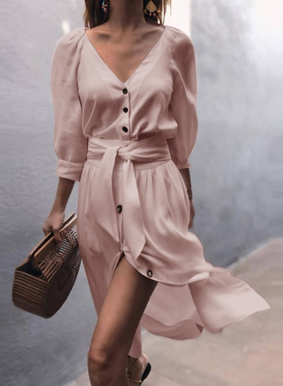 V Neck Puff Sleeve Button Casual Dress With Belt